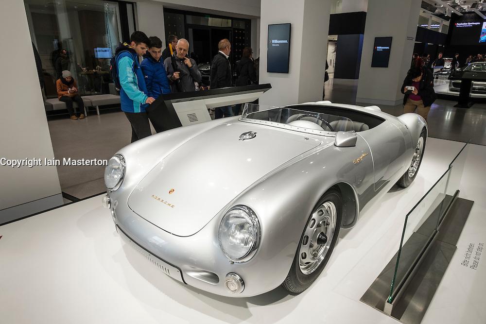 Porsche 550 Spyder vintage car on display at Volkswagen DRIVE Forum on Unter den linden in Berlin Germany
