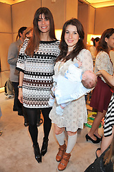Left to right, LISA BILTON, LAUREN KEMP and her son REX at a fun filled tea party hosted by Roger Vivier to view their Jeune Fille collection of shoes in aid of Mothers4Children held at Roger Vivier, Sloane Street, London on 27th March 2012.