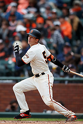 SAN FRANCISCO, CA - MAY 26: Mike Yastrzemski #5 of the San Francisco Giants hits a double against the Arizona Diamondbacks during the seventh inning at Oracle Park on May 26, 2019 in San Francisco, California. The Arizona Diamondbacks defeated the San Francisco Giants 6-2. (Photo by Jason O. Watson/Getty Images) *** Local Caption *** Mike Yastrzemski
