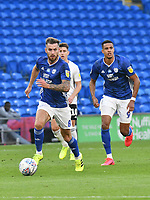 Football - 2019 / 2020 Championship - Play-off semi-final - 1st leg - Cardiff City vs Fulham<br /> <br /> Joe Ralls of Cardiff City on the attack<br /> in a match played with no crowd due to Covid 19 coronavirus emergency regulations, in an almost empty ground, at the Cardiff City Stadium<br /> <br /> COLORSPORT/WINSTON BYNORTH