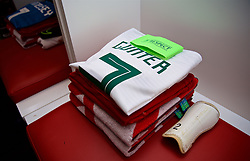 ELBASAN, ALBANIA - Tuesday, November 20, 2018: The white shirt of Wales' captain Chris Gunter in the dressing room before the International Friendly match between Albania and Wales at the Elbasan Arena. (Pic by David Rawcliffe/Propaganda)