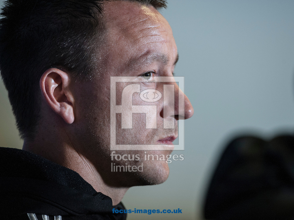 John Terry of Chelsea during a press conference ahead of their UEFA Champions League semi final against Atletico Madrid at Stamford Bridge, London <br /> Picture by Daniel Hambury/Focus Images Ltd +44 7813 022858<br /> 29/04/2014