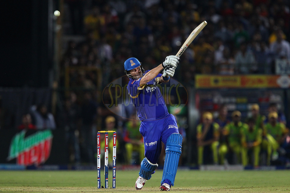 Shane Watson gets a top edge for four leaving Royals needing four to win with 20 balls left during match 61 of the Pepsi Indian Premier League ( IPL) 2013  between The Rajasthan Royals and the Chennai SUperkings held at the Sawai Mansingh Stadium in Jaipur on the 12th May 2013..Photo by Ron Gaunt-IPL-SPORTZPICS ..Use of this image is subject to the terms and conditions as outlined by the BCCI. These terms can be found by following this link:..http://www.sportzpics.co.za/image/I0000SoRagM2cIEc