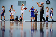 The referee signals a foul during the girls basketball game between the U-32 Raiders and the Essex Hornets at Essex High School on Wednesday night December 27, 2017 in Essex. (BRIAN JENKINS/for the FREE PRESS)