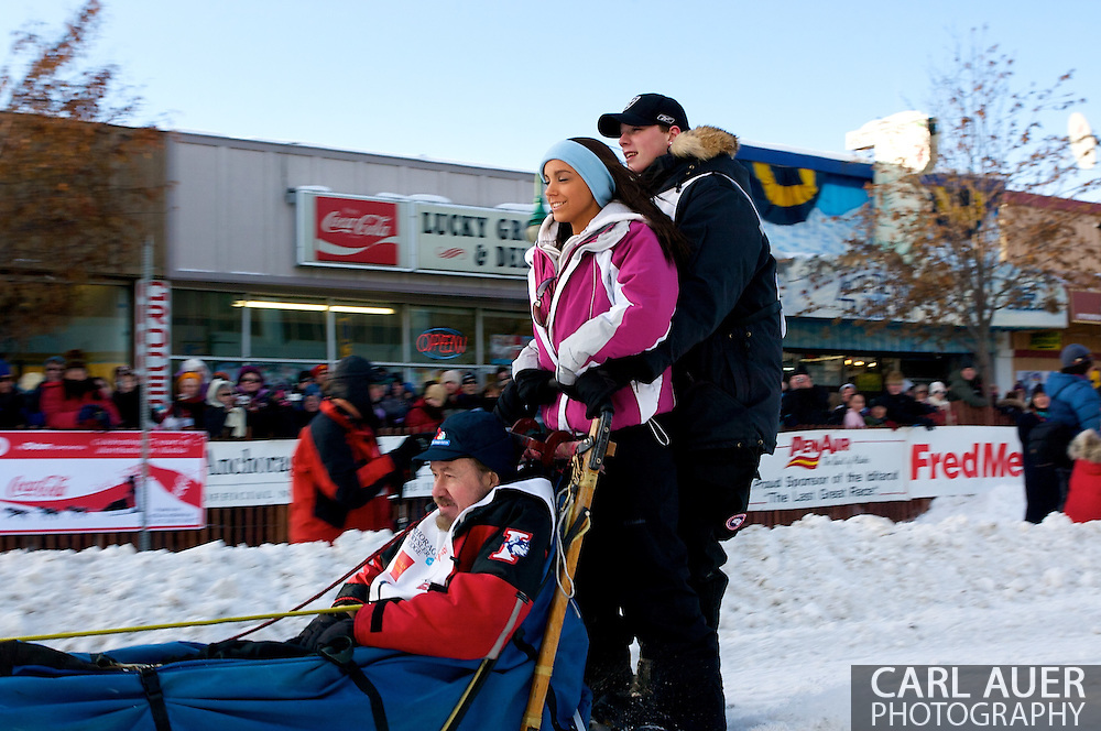 March 7th, 2009:  Anchorage, Alaska - Cain Carter, Junior Iditarod winner and step-son of two time defending Iditarod winner Lance Mackey, heads down 4th Avenue to signal the official start of the 2009 Iditarod.