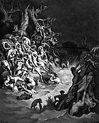 The Flood'.  Humans and animals overwhelmed by the deluge while, in background, The Ark floats on the waters. Genesis. Illustration by Gustave Dore (1832-1883) French painter and book illustrator for 'The Bible' (London 1866). Wood engraving.