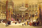 Greek Church of the Holy Sepulchre, Jerusalem, April 11th 1839.   Lithograph, 1842, after  by David Roberts (1796-1864) Scottish painter. Seat of the Greek Orthodox Patriarch of Jerusalem. Orientalist Palestine Religion Christian