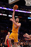 25 February 2011: Forward Pau Gasol of the Los Angeles Lakers shoots a hook shot against the Los Angeles Clippers during the second half of the Lakers 108-95 victory over the Clippers at the STAPLES Center in Los Angeles, CA.