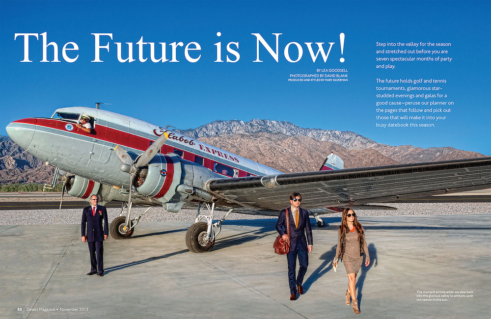 """Desert Magazine Cover story highlighting the """"Coming Home Issue. Shot at Palm Springs Air Museum. DC3 airplane and crew with 2 passengers"""