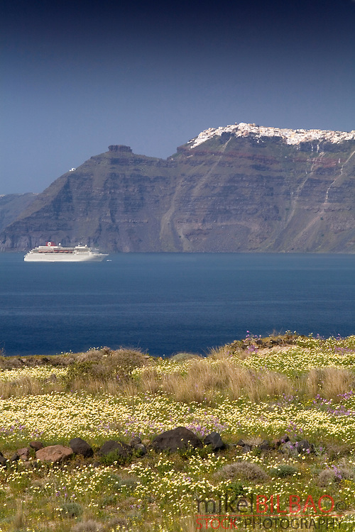 Cliffs and village.<br /> Thera. Santorini island. Cyclades islands, Aegean Sea, Greece, Europe.