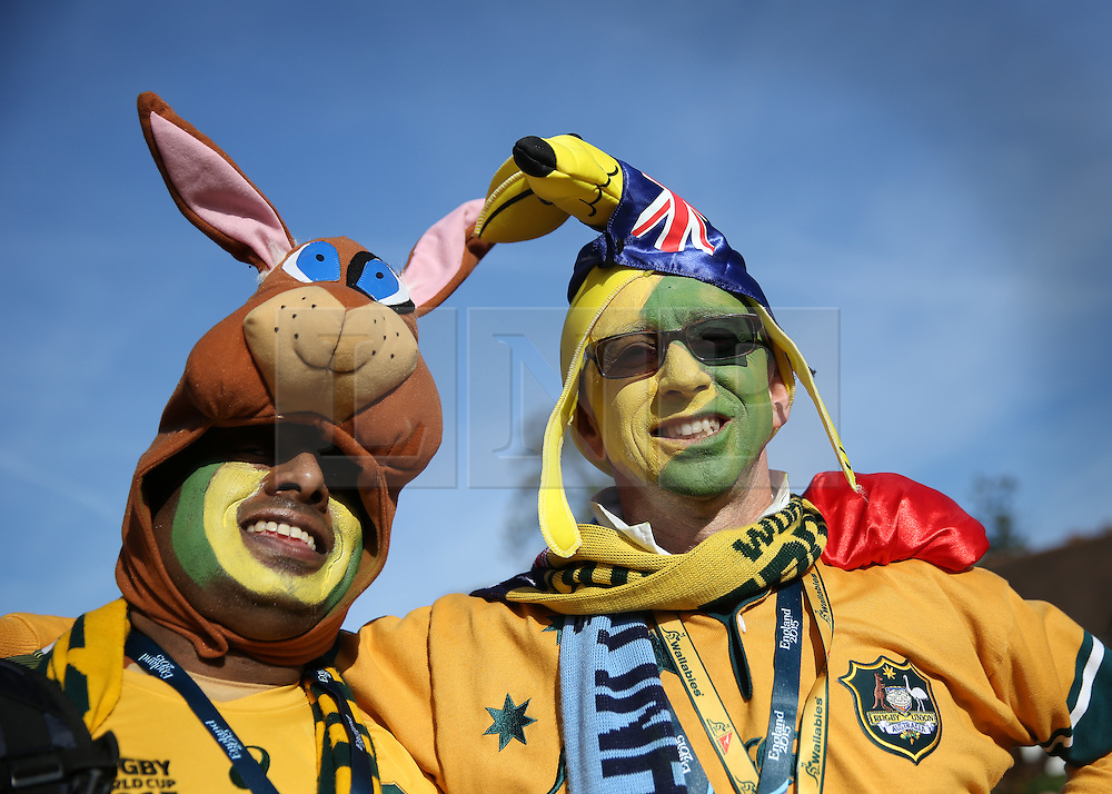 © Licensed to London News Pictures. 31/10/2015. London, UK. Australian rugby fans pose for photos as they arrive for the Rugby World Cup final at Twickenham. Photo credit: Peter Macdiarmid/LNP