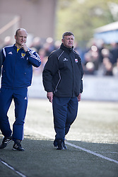 Montrose manager Paul Hegarty . <br /> Montrose 3 v 1 Brora Rangers, Scottish League Two play-off second leg, today at Links Park, Montrose.