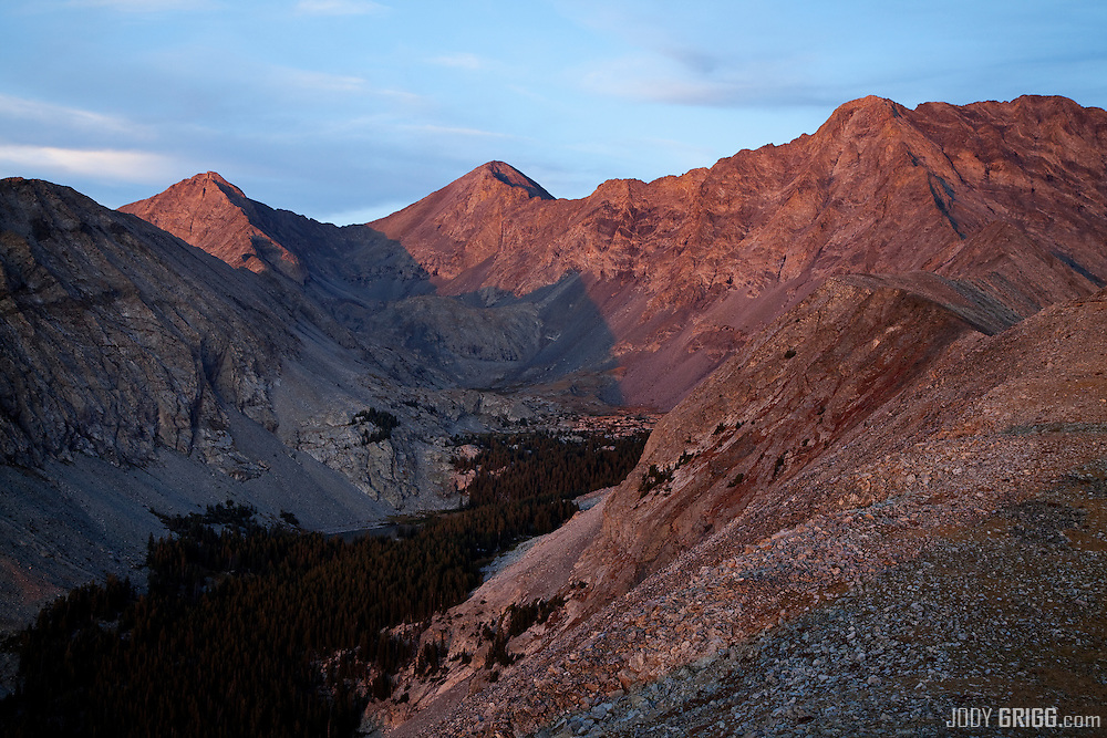 3 fourteener peaks on the southern end of the Sangre De Cristo Range, Colorado, are viewed at sunset, Blanca Peak, Ellingwood Point and Little Bear Peak.