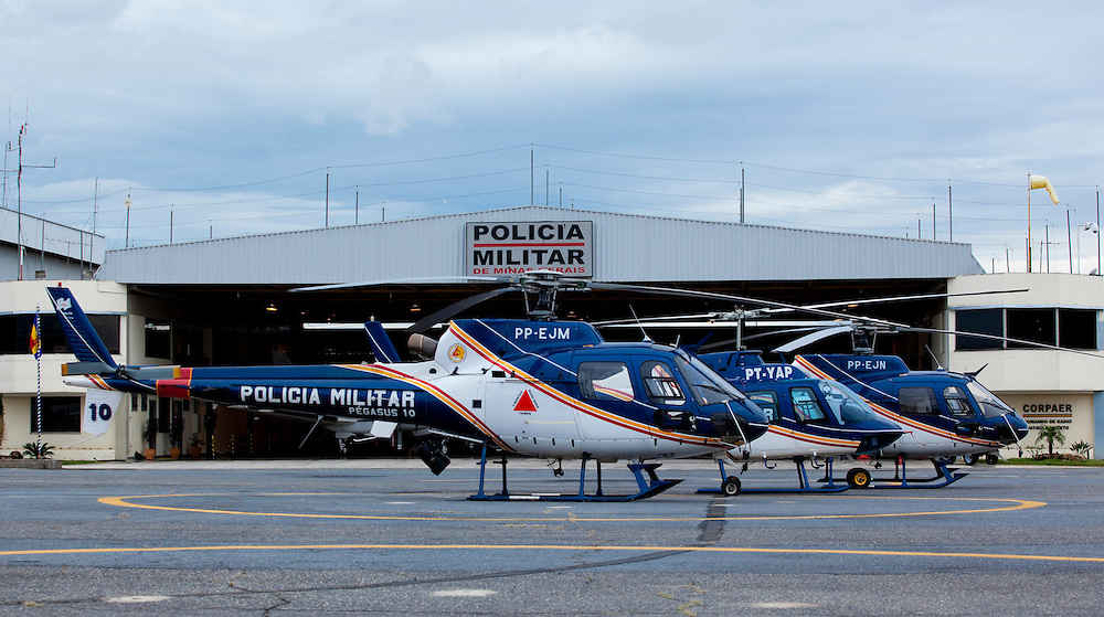 Belo Horizonte_MG, Brasil...Hangar do CORPAER (Comando de Radio Patrulhamento Aereo da Policia Militar)...The helicopter hangers of CORPAER, (The Company Radio Patrol Air of Military Police)...Foto: BRUNO MAGALHAES / NITRO