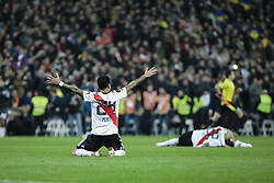 December 9, 2018 - Madrid, Spain - ENZO PEREZ of River Plate celebrates the victory 3-1 against Boca Juniors during the CONMEBOL Copa Libertadores second leg final between River Plate against Boca Juniors at Santiago Bernabeu Stadium. (Credit Image: © Xavier Bonilla/NurPhoto via ZUMA Press)