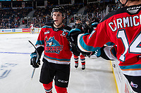 KELOWNA, BC - NOVEMBER 1: Nolan Foote #29 of the Kelowna Rockets celebrates the second goal and another assist during second period against the Prince George Cougars  at Prospera Place on November 1, 2019 in Kelowna, Canada. (Photo by Marissa Baecker/Shoot the Breeze)