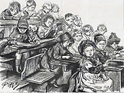 London Board School, Denmark Terrace, Islington: Junior children writing on their slates after their free dinner.  From 'The Graphic', London, 7 December 1889.