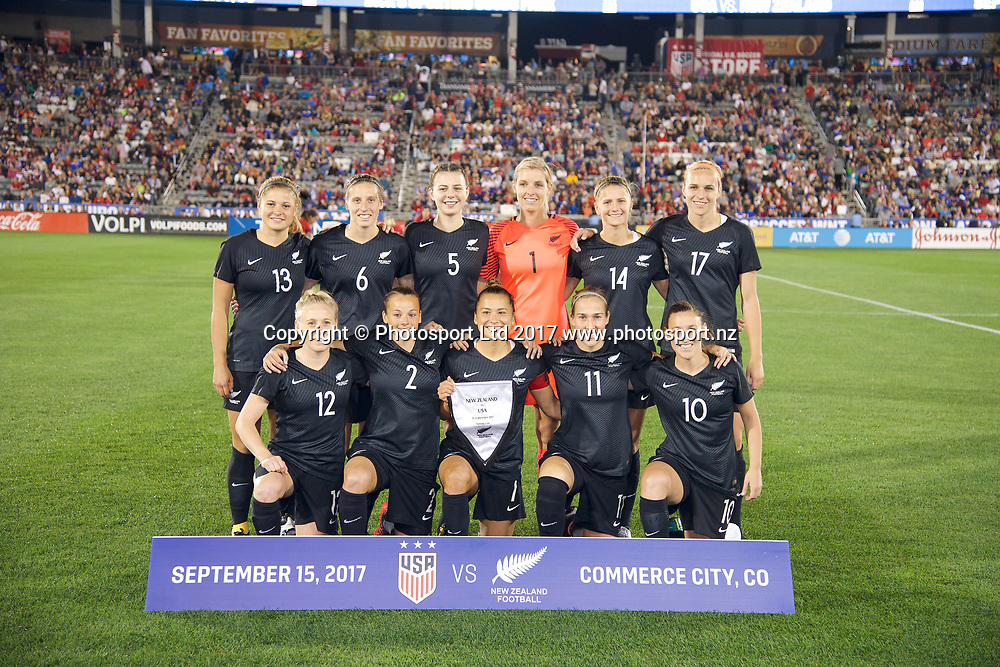 NZ Football Ferns Team photo.<br /> Commerce City, Colorado - Friday September 15, 2017:  The USWNT takes on the New Zealand Women's National Football Team at Dick's Sporting Goods Park. Copyright photo: Jamie Schwaberow / ISI / www.photosport.nz