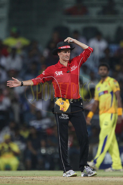 Umpire Billy Bowden in action during match 41 of the the Indian Premier League ( IPL) 2012  between The Chennai Superkings and the Kolkata Knight Riders held at the M. A. Chidambaram Stadium, Chennai on the 30th April 2012..Photo by Ron Gaunt/IPL/SPORTZPICS