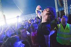 Andrew Metcalfe, lead singer of the band Sound of Guns, play the Goldenvoice Arena, Rockness, Saturday, 11th June 2011..RockNess 2011, the annual music festival which takes place in Scotland at Clune Farm, Dores, on the banks of Loch Ness near Inverness..Pic ©2011 Michael Schofield. All Rights Reserved..