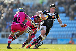 Dave Ewers of Exeter Chiefs takes on the London Welsh defence - Photo mandatory by-line: Patrick Khachfe/JMP - Mobile: 07966 386802 07/03/2015 - SPORT - RUGBY UNION - Exeter - Sandy Park - Exeter Chiefs v London Welsh - Aviva Premiership