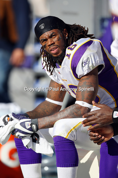 Minnesota Vikings wide receiver Sidney Rice (18) looks on from the sidelines during the NFL football game against the Pittsburgh Steelers, October 25, 2009 in Pittsburgh, Pennsylvania. The Steelers won the game 27-17. (©Paul Anthony Spinelli)