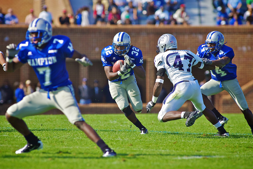 Oct 30, 2010; Hampton VA, USA; Hampton Pirates running back Antwon Chisholm (32) runs the ball against the Old Dominion Monarchs at Armstrong Stadium. The Pirates lost 28-14. Mandatory Credit: Peter J. Casey