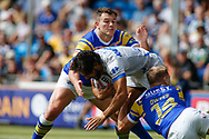 Brett Ferres and Brad Dywer of Leeds Rhinos  tackle Mark Khierallah (C) of Toulouse Olympique during the Betfred Super 8s Qualifiers match at Emerald Headingley Stadium, Leeds<br /> Picture by Stephen Gaunt/Focus Images Ltd +447904 833202<br /> 11/08/2018