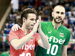 June 16, 2018 - Varna, Bulgaria - from left Teodor SALPAROV (Bulgaria), Valentin BRATOEV (Bulgaria), after winning the first set, .mens Volleyball Nations League,week 4, Bulgaria vs Canada, Palace of culture and sport, Varna/Bulgaria, June 16, 2018, the fourth of 5 weekends of the preliminary lap in the new established mens Volleyball Nationas League takes place in Varna/Bulgaria. (Credit Image: © Wolfgang Fehrmann via ZUMA Wire)