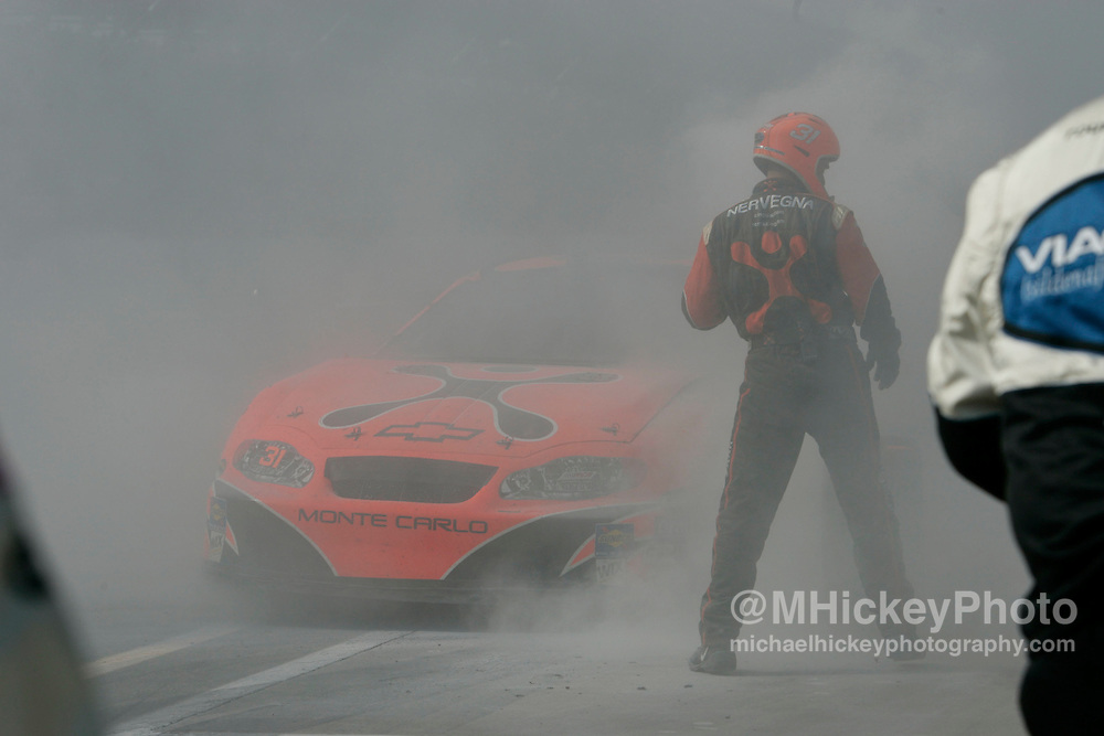 After running in the top five for much of the day, Robbie Gorden's hope for winning the Brickyard 400 was extenguished when a blown tire caught fire causing damage to the car