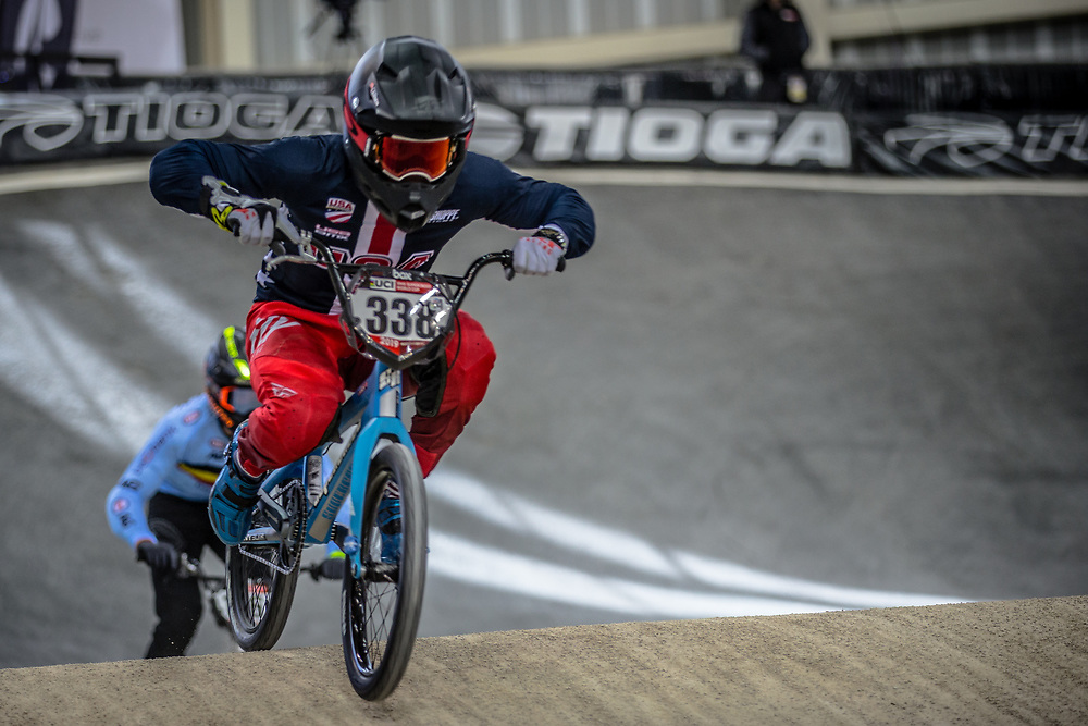 #338 (LARSEN Kamren) USA at Round 2 of the 2019 UCI BMX Supercross World Cup in Manchester, Great Britain