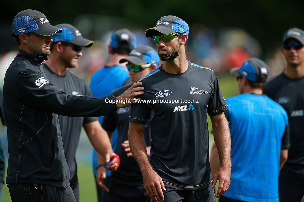 Dan Vettori of the Black Caps congratulates Grant Elliott before the first ODI cricket game between the Black Caps v Sri Lanka at Hagley Oval, Christchurch. 11 January 2015 Photo: Joseph Johnson / www.photosport.co.nz