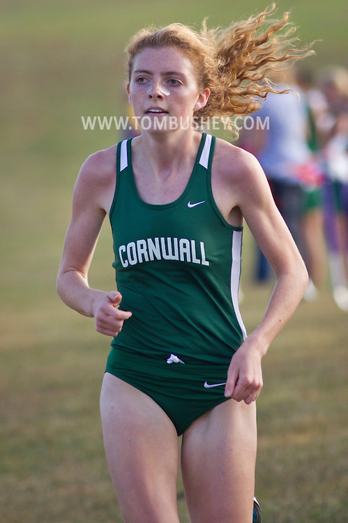 Warwick, New York - Warwick hosts a high school cross country meet with Cornwall, Pine Bush and Washingtonville at Sanfordville Elementary School on Sept. 30, 2014. Dara Cuffe of Cornwall finished second in the girls' race.