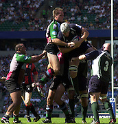 20040904 London Irish v Harlequins. Zurich Premiership..Photo  Peter Spurrier.Exiles Bob Casey win's the line out ball jumping in front of Quins, Kia Horstmann..email images@intersport-images Mob +447973819551.