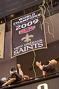 NEW ORLEANS, LA - SEPTEMBER 9:   Fans of the New Orleans Saints cheer the new World Champions banner before the season opener against the Minnesota Vikings at the Louisiana Superdome on September 9, 2010 in New Orleans, Louisiana.  The Saints defeated the Vikings 14-9.  (Photo by Wesley Hitt/Getty Images) *** Local Caption ***