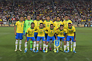 Brazil players pose for a team photo during an international friendly soccer match against Peru, Tuesday, Sept. 10, 2019, in Los Angeles. Front row: David Neres (7), Fagner (22), Allan (15), Phillippe Coutinho (11) and Alex Sandro (6). Back row: Richarlison (9), Ederson (23), Eder Militao (3), Robert Firmino (20), Marquinhos (4) and Casemiro (5).   (