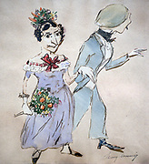Couple with a Bouquet'. Watercolour by Henri Monnier (1805-1877) French cartoonist. Man Woman