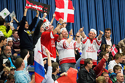 Fans of Denmark during Ice Hockey match between Russia and Denmark at Day 6 in Group B of 2015 IIHF World Championship, on May 6, 2015 in CEZ Arena, Ostrava, Czech Republic. Photo by Vid Ponikvar / Sportida