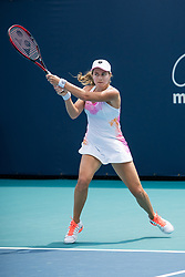 March 18, 2019 - Miami Gardens, FL, U.S. - MIAMI GARDENS, FL - MARCH 18: Stefanie Voegele (SUI) in action during the Miami Open on March 18, 2019 at Hard Rock Stadium in Miami Gardens, FL. (Photo by Aaron Gilbert/Icon Sportswire) (Credit Image: © Aaron Gilbert/Icon SMI via ZUMA Press)