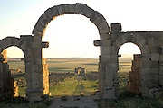 MOROCCO, ROMAN HISTORY Volubilis, 1-3C AD, Roman city in the Roman province of Mauretania Tingitana; Caracalla's Arch through gate