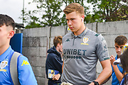 Leeds United goalkeeper Bailey Peacock-Farrell (1) arrives at the ground during the Pre-Season Friendly match between Guiseley  and Leeds United at Nethermoor Park, Guiseley, United Kingdom on 11 July 2019.