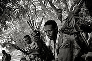 Local TFG soldiers at one of the frontlines in the outskirts of mogadishu. 100 meters further ahead Al-Sahbaab is still in control.