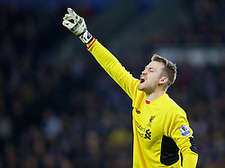 LEICESTER, ENGLAND - Monday, February 1, 2016: Liverpool's goalkeeper Simon Mignolet in action against Leicester City during the Premier League match at Filbert Way. (Pic by David Rawcliffe/Propaganda)