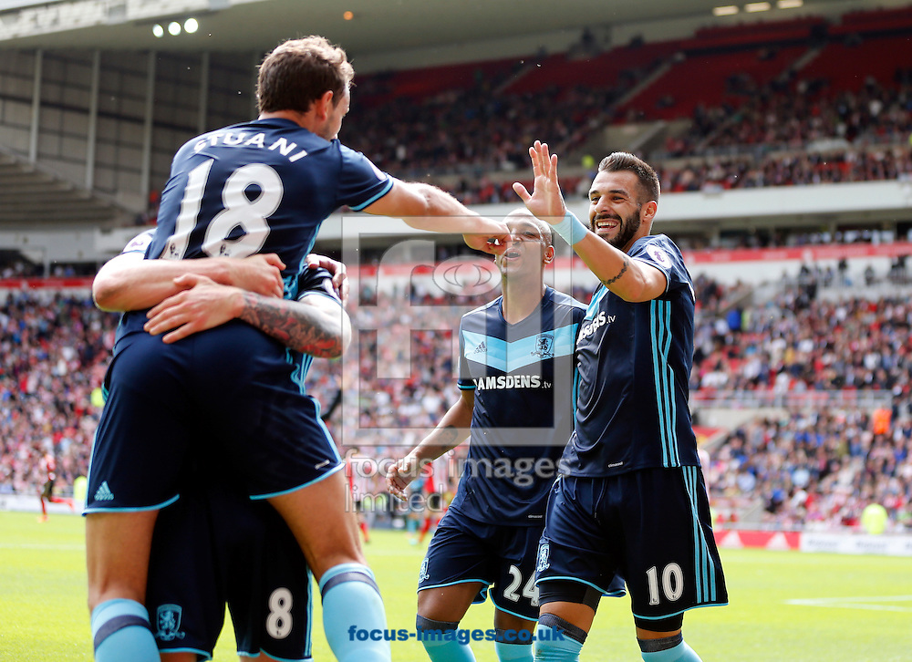 Christian Stuani (18) of Middlesbrough celebrates scoring to make 0-2 during the Premier League match at the Stadium Of Light, Sunderland<br /> Picture by Simon Moore/Focus Images Ltd 07807 671782<br /> 21/08/2016