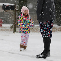 Kaitlyn Ducey, 4, plays Wednesday afternoon in the snow in her community off Sweetgrass Basket Parkway in Mount Pleasant. Andrew Knapp/Staff