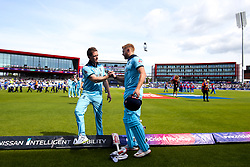 Jonny Bairstow of England is wished good luck by Eoin Morgan of England before batting against Afghanistan - Mandatory by-line: Robbie Stephenson/JMP - 18/06/2019 - CRICKET- Old Trafford - Manchester, England - England v Afghanistan - ICC Cricket World Cup 2019 group stage