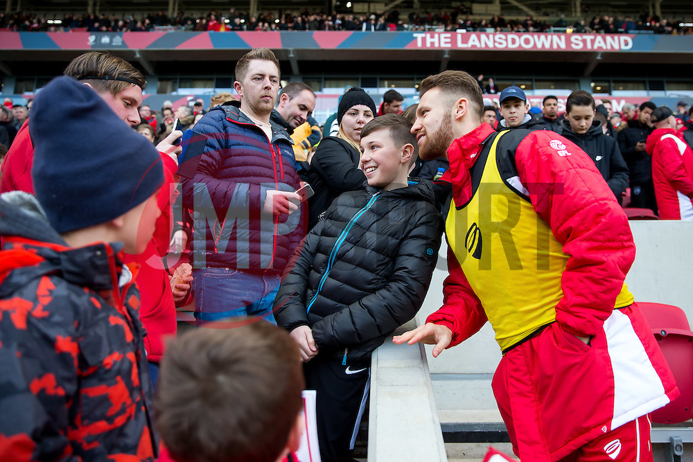 Matty Taylor of Bristol City poses with fans - Rogan Thomson/JMP - 04/02/2017 - FOOTBALL - Ashton Gate Stadium - Bristol, England - Bristol City v Rotherham United - Sky Bet Championship.