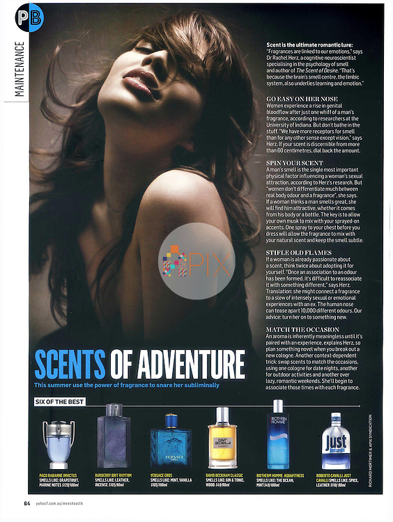 'Scents of adventure', a feature on fragrance in the December edition of Men's Health magazine, Australia.  <br />