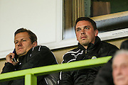 Forest Green Rovers's newly appointed manager Mark Cooper and caretaker Scott Bartlett  during the Glos Senior Cup Final match between Forest Green Rovers and Bishops Cleeve at the New Lawn, Forest Green, United Kingdom on 2 May 2016. Photo by Shane Healey.