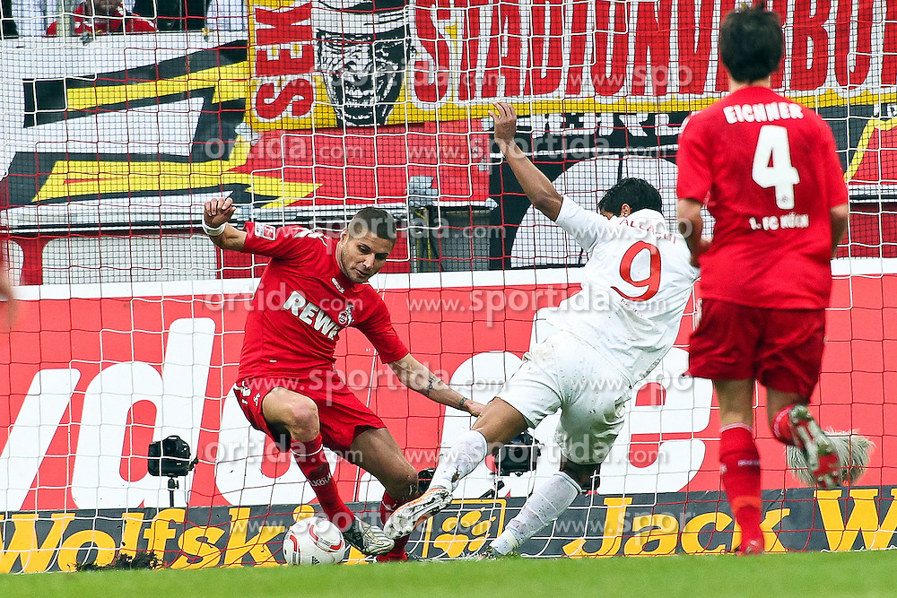 13.02.2010,  Rhein Energie Stadion, Koeln, GER, 1.FBL, FC Koeln vs Mainz 05, 22. Spieltag, im Bild: Szene zum 1:1 durch Sami Allagui (Mainz #9) (re.) gegen Youssef Mohamad (Koeln #3)  EXPA Pictures © 2011, PhotoCredit: EXPA/ nph/  Mueller       ****** out of GER / SWE / CRO  / BEL ******